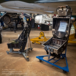 Martin Baker MB-326H Jet Trainer Ejection Seat (left) and Martin Baker MK.3B Ejection Seat as fitted to a Vampire Mk. 35A (right). Photo: Julian Tennant