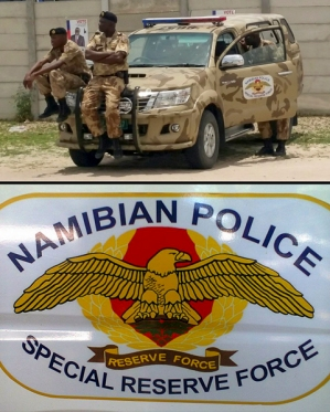Namibian Police Special Reserve Force vehicle and insignia detail