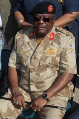 Inspector General of the Namibian Police Sebastian Ndeitunga. The distinctive SRF qualifcation can be seen embroidered onto the left breast of his shirt. August 2014