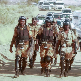 Members of the Nampol Special Reserve Force equipped for crowd control duties.