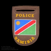 Namibian Police shoulder patch. Several variations of this patch exist, however this type is often seen being worn by members of the Special Reserve Force.