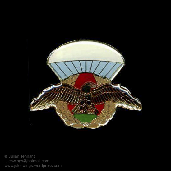 Metal and lucite parachutist qualification badge purportedly made for qualified members of the SRF. The construction of this badge indicates that is likely to have been made by the 'Metal Art' company in South Africa. It is unknown whether the standard SRF qualification also exists in this style and thus far I have found no evidence of either actually being worn by members of the SRFD.