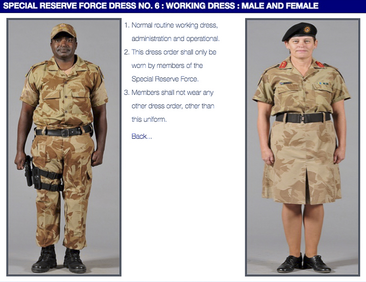 Nampol Dress Regulations for Special Reserve Force members work dress.