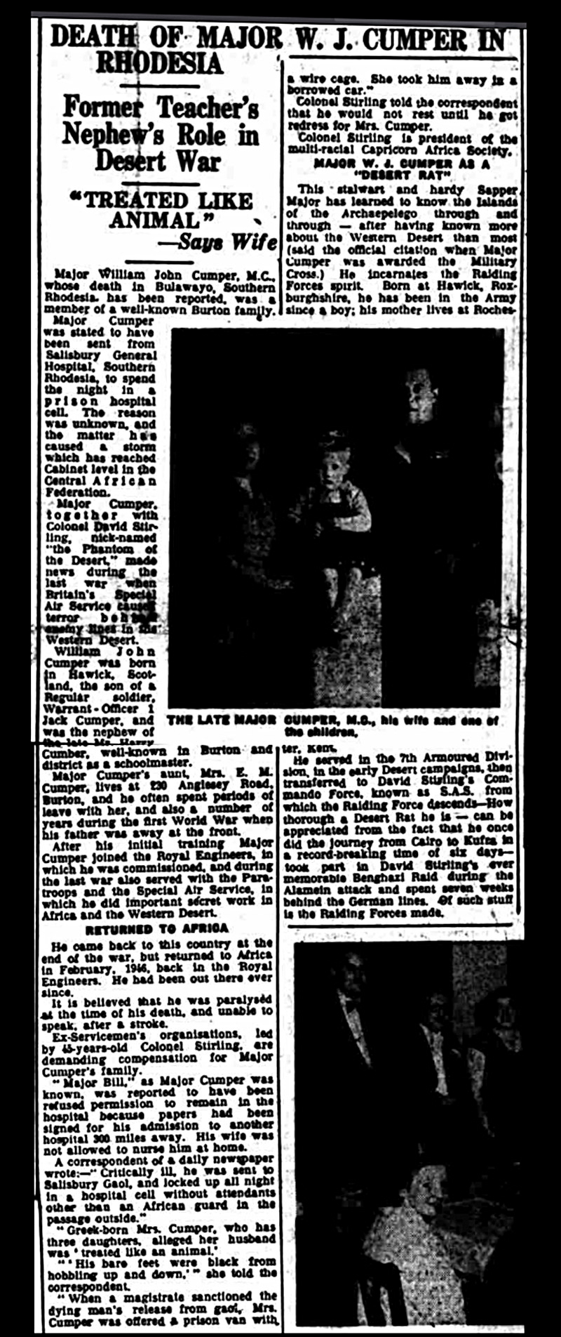 SAS Cumper death Burton Observer 13 January 1955