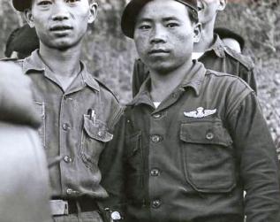 """Thai PARU instructors circa 1963/4. Note the metal parachutist wing. Photo: J. Vinton """"Vint"""" Lawrence"""