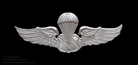 Thai Police Third Class parachutist metal variation. The metal wings were often worn by PARU advisors on their berets or shirts whilst deployed to Laos during the war.