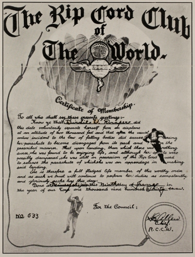 Birdie Draper's R.C.C.W. certificate. Image courtesy the San Diego Air and Space Museum's Library & Archives