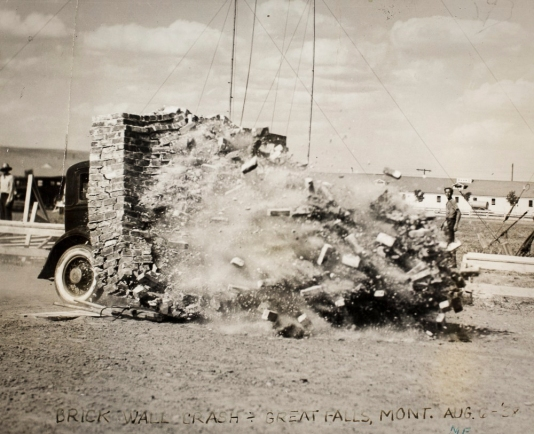 Birdie Draper carrying out one of her famous car crash stunts. Image courtesy the San Diego Air and Space Museum's Library & Archives