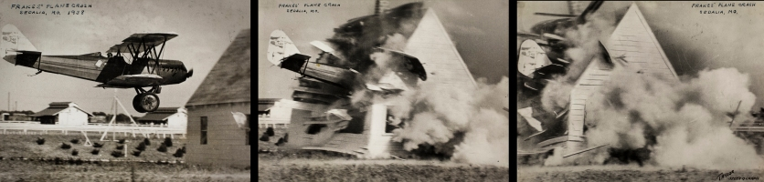 Birdie Draper's co-performer, Captain F. F. (Bowser) Frakes crashing his aircraft through a barn. Image courtesy the San Diego Air and Space Museum's Library & Archives