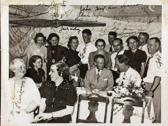 Photograph from the Birdie Draper Collection showing members of the Minneapolis chapter of the RCCW at dinner with St Paul's Mayor, George Leach (seated centre) following the Minnesota State Fair in 1938. Note the RCCW badges being worn by various members of the group. Image courtesy the San Diego Air and Space Museum's Library & Archives