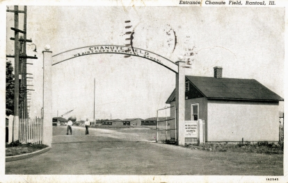 Postcard. Entrance to the US Air Corps Technical School, Chanute Field.