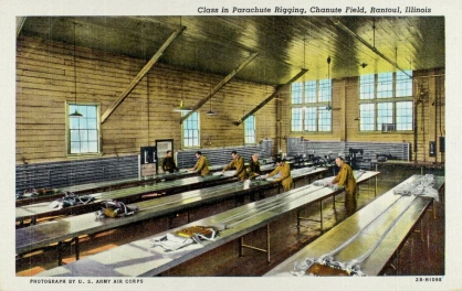 Postcard. US Army Air Corps Parachute Rigging Class at Chanute Field, 1942.