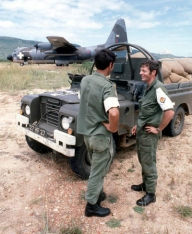 Australian observers of the Commonwealth Monitoring Force, Rhodesia 1980. Note the distinctive white CMF brassard and pangolin patch.