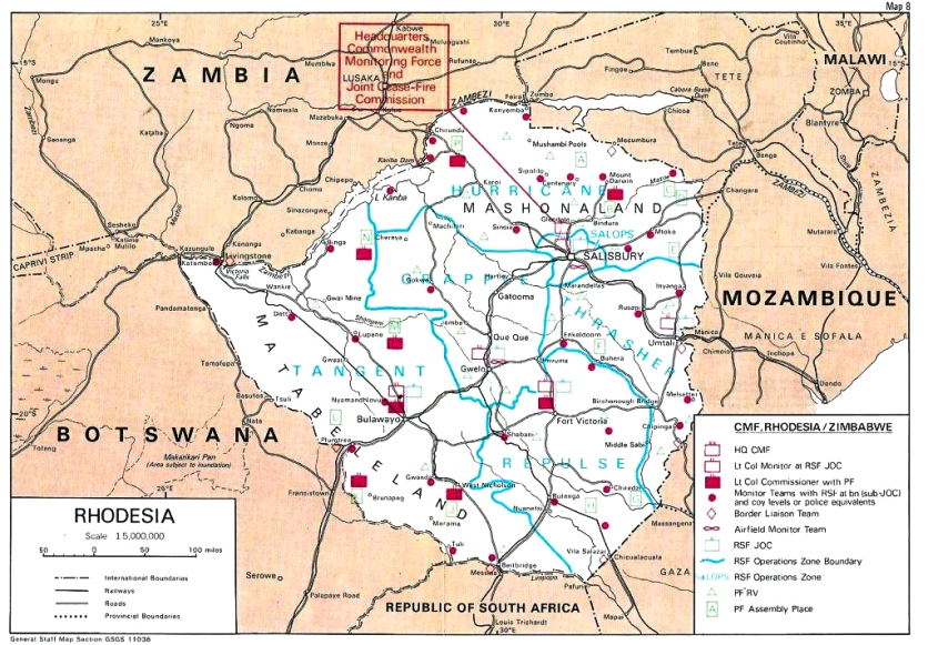 Op AGILA Rhodesia -Commonwealth Monitoring Force team deployment map.
