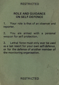 Op AGILA. Commonwealth Monitoring Force Rules of Engagement (ROE) card.