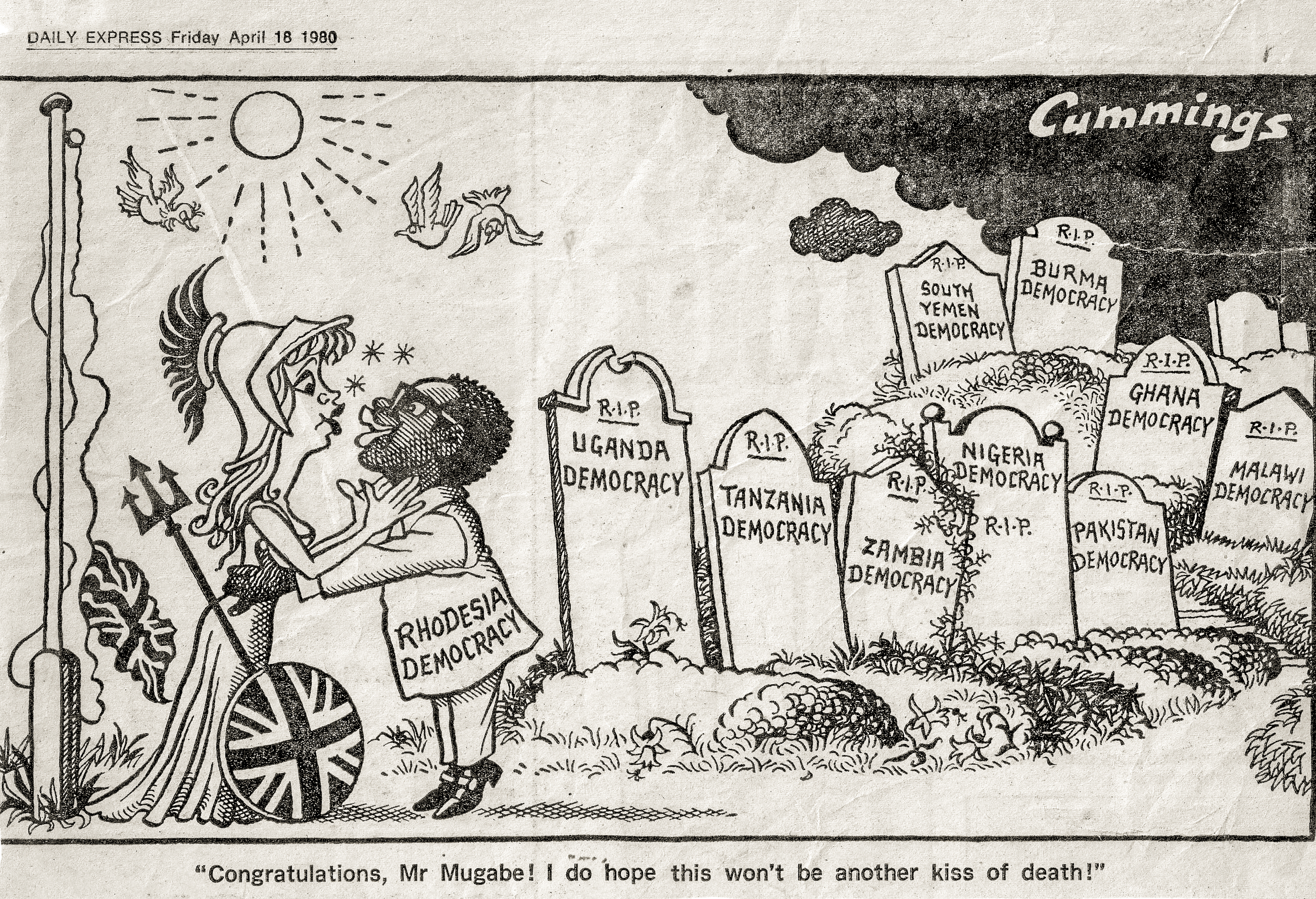 British Daily Express cartoon of 18 April 1980. A sign of things to come.