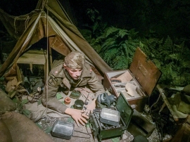 A 2nd Lieutenant from the Hampshire Regiment with kit whilst on bivouac prior to the invasion. (2015 display). Photo: Julian Tennant