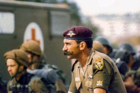 Warrant Officer Stefaans Baard PMM, MMM with paratroop trainees in the 1980's. Baard was awarded the Pro Merito Medal (PMM) and Military Merit Medal (MMM) for his exceptional service as a paratroop instructor and would later serve as RSM for 1 Parachute Battalion, 44 Parachute Battalion and Brigade Sergeant Major for 44 Parachute Brigade in 1997/98.