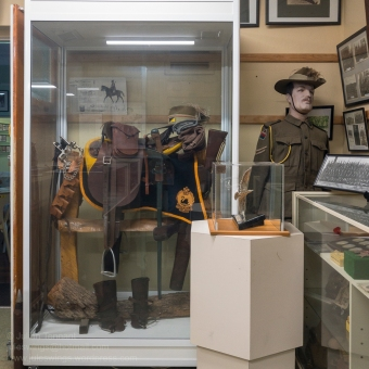 10th Light Horse display featuring a mix of orignal WW1 and contemporary items. Photo: Julian Tennant