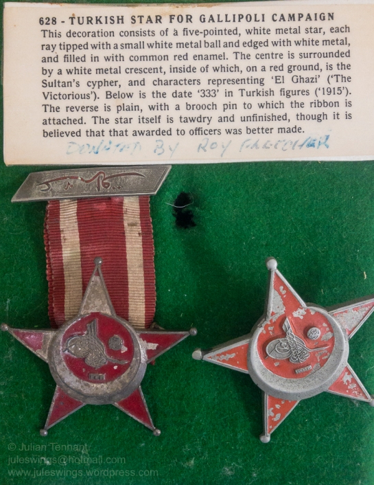 Turkish Stars for the Gallipoli Campaign donated to the Birdwood Military Museum by Roy Fletcher. Photo: Julian Tennant
