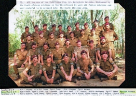 Members of the SADF's 44 Parachute Brigade Pathfinder Company. Derek Andrews is sitting in the second row far right. Peter McAleese is sitting two to the right of Andrews. Photo: Derek Andrews / Victor Harbor RSL